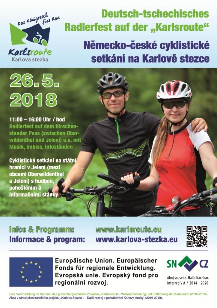 Německo-české cyklistické setkání na Karlově stezce v sobotu 26. května 2018