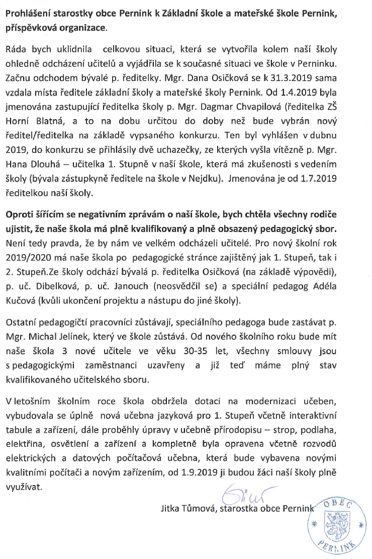 Prohlašení starostky obce Pernink k Základní a mateřské škole Pernink